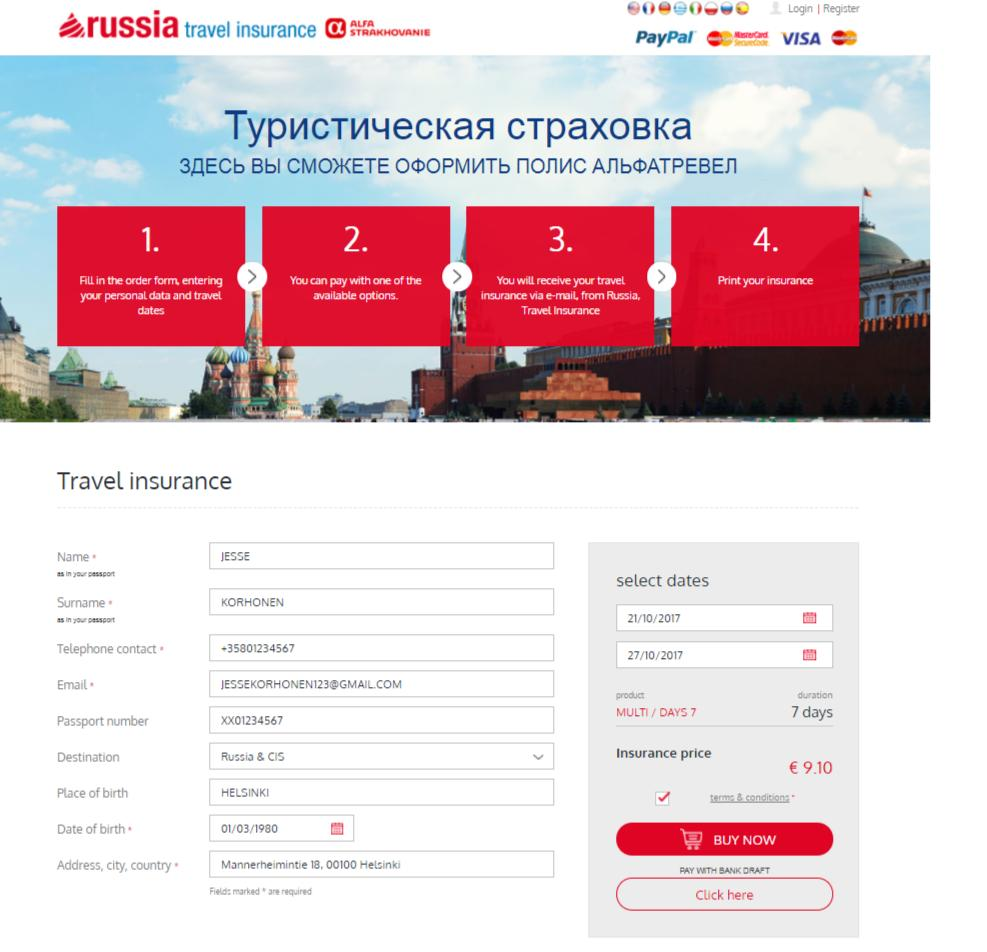 Cheap Travel insurance Russia from Finland
