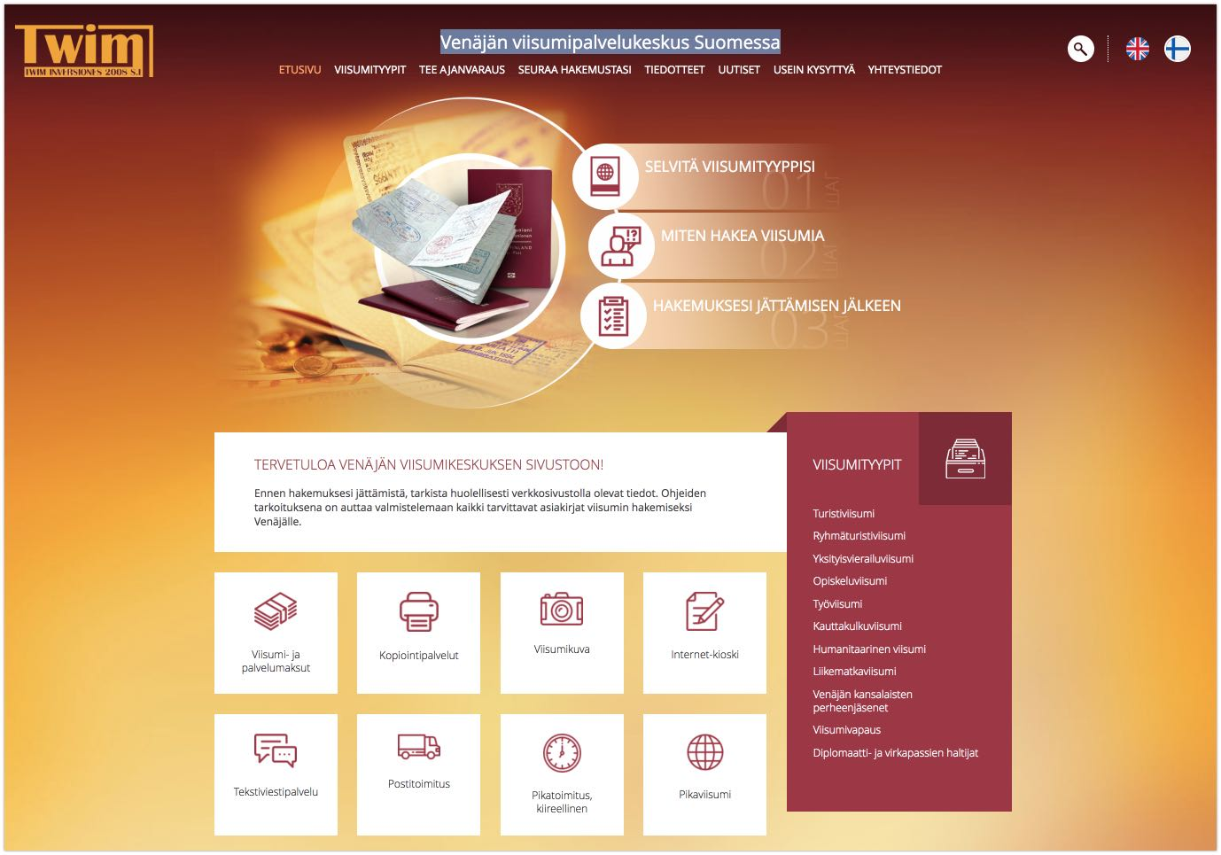 Russia Visa Center in Finland - Website screenshot