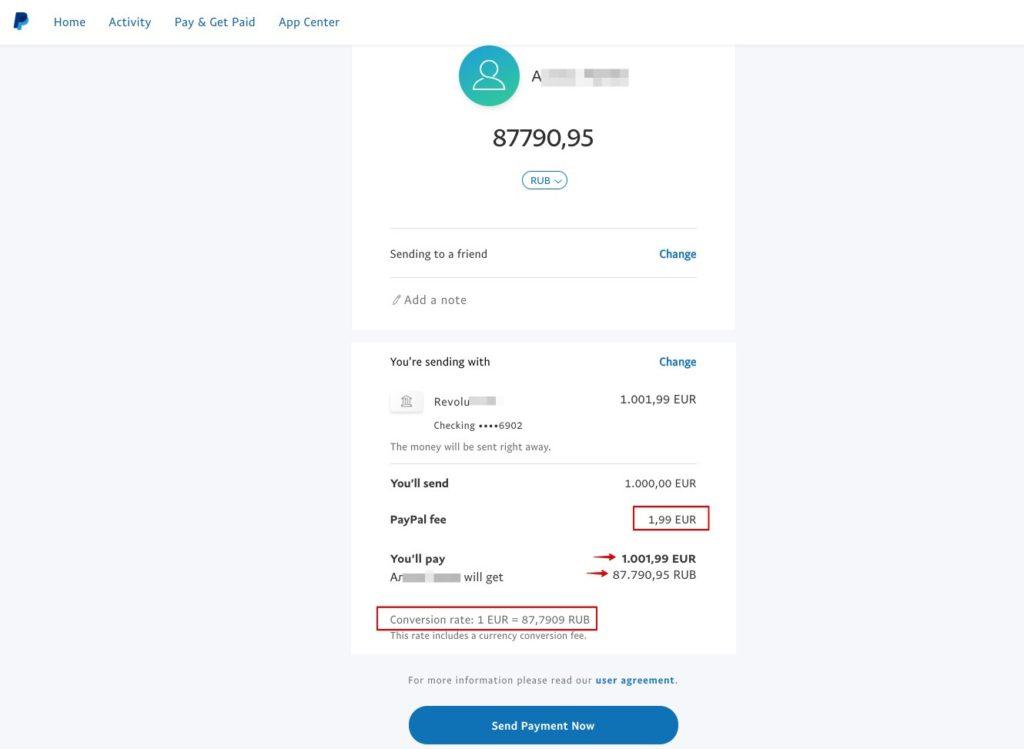 PayPal - betalingen verzenden naar Rusland 2