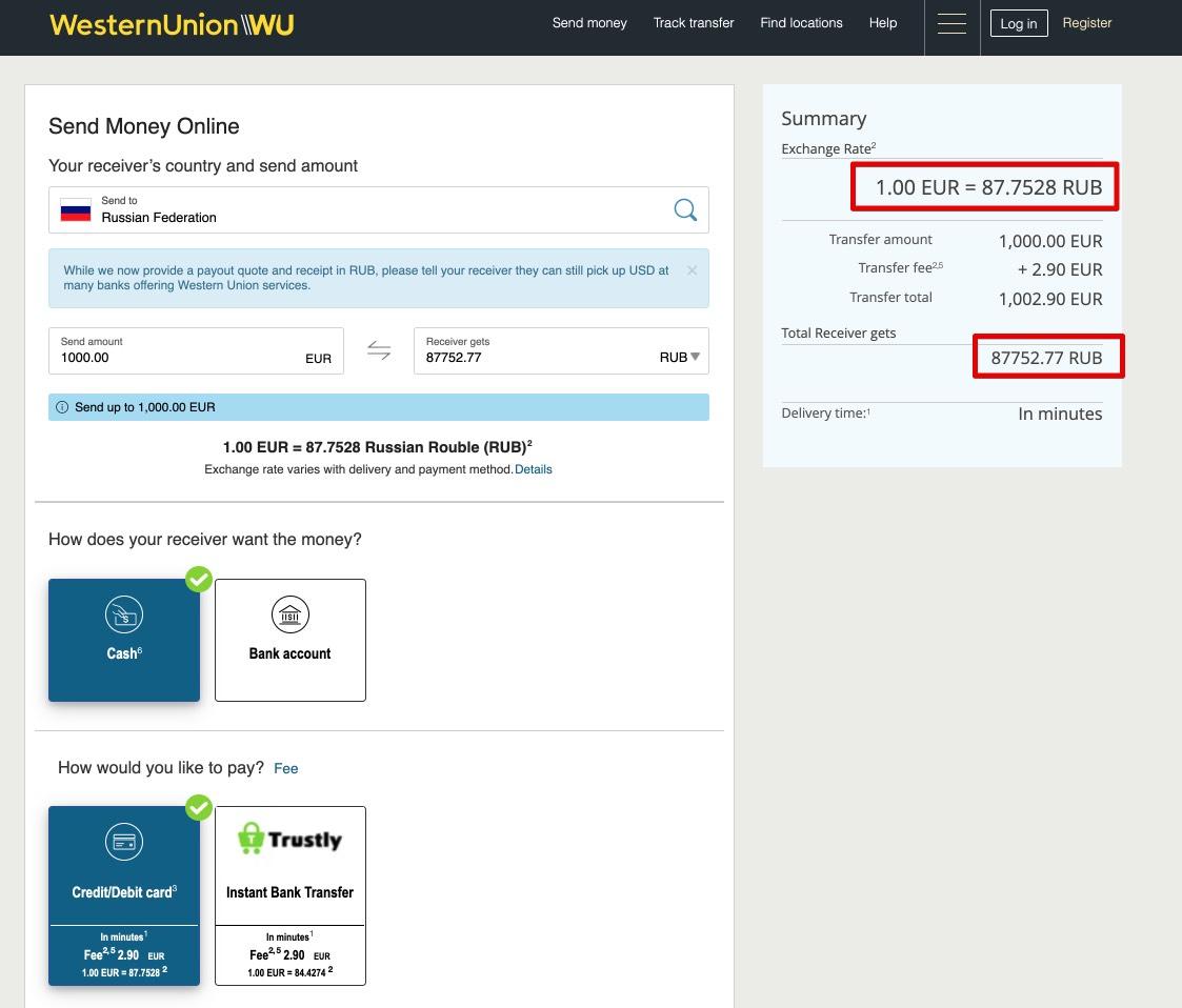 Lähetä rahaa Suomesta Venäjälle Western Union FI - käteisellä